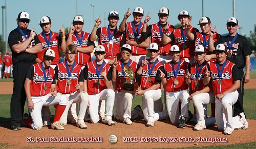 St. Paul Cardinals - 2011 TAPPS 1A/2A State Baseball Champions