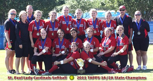 St. Paul Cardinals - 2011 TAPPS 1A/2A State Softball Champions