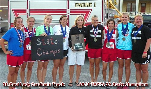 St. Paul Lady Cardinals - 2011 TAPPS 2A State Track Champions